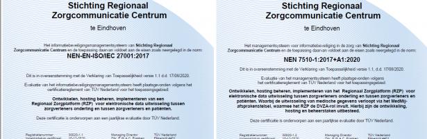 RZCC ontvangt NEN 7510-, ISO 27001- en  MedMij-certificering